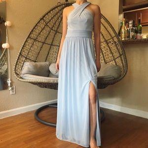 David Bridal Crisscross High-Neck Mesh Dress